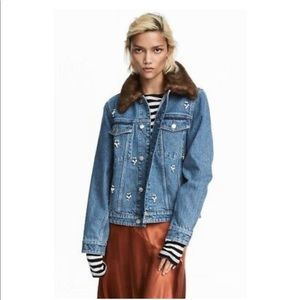 NWT H&M Denim Jacket w/ removable faux fur collar